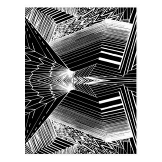 Geometric Line Art Black & White Abstract Design Postcard
