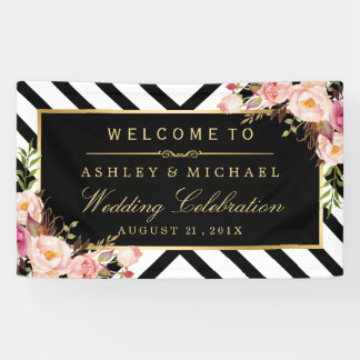 Geometric Lines Floral Wedding Celebration Party Banner