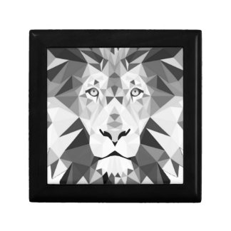 Geometric Lion Black and White Small Square Gift Box