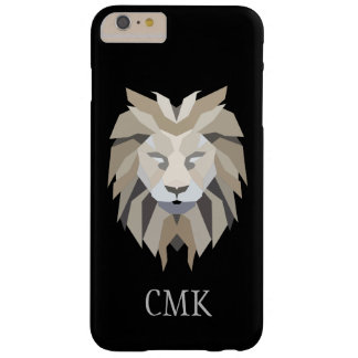 Geometric Lion Custom Initials Black Grey Barely There iPhone 6 Plus Case