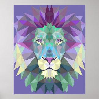 Geometric Lion Poster