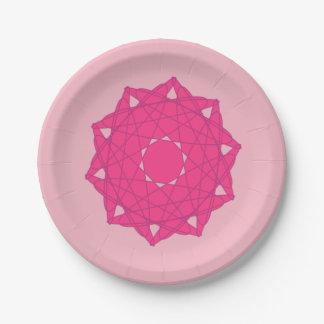 Geometric mandala plate - hot pink
