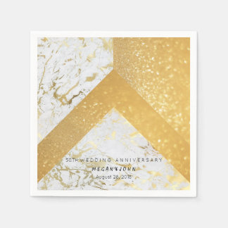 Geometric Marble White Gold 50th WEDDING Paper Serviettes