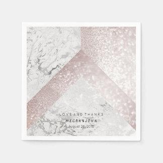 Geometric Marble White Pink Gold BRIDAL WEDDING Disposable Serviette