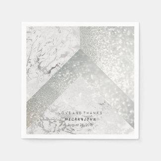 Geometric Marble White Silver Gray Party Paper Napkin