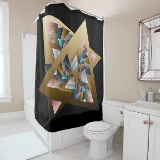 Geometric Metallic Triangles Shower Curtain