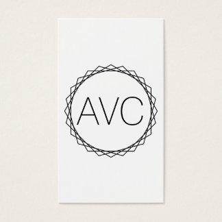 Geometric Minimalist Modern Monogram Black & White Business Card