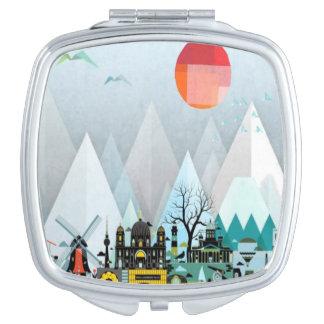 Geometric modern city mountain pattern mirror