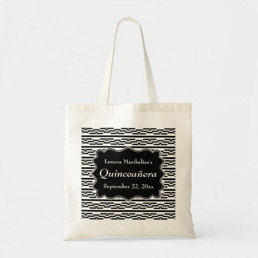 Geometric Monochrome Quinceanera Canvas Bags