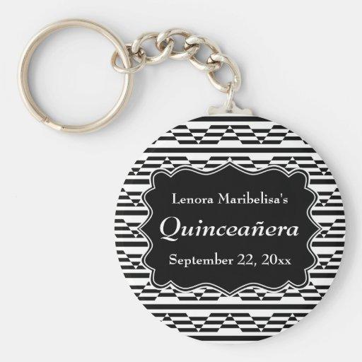 Geometric Monochrome Quinceanera Key Chain