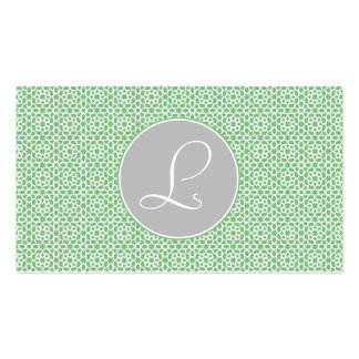 Geometric Monograma drawn up Moroccan green gray a Business Card