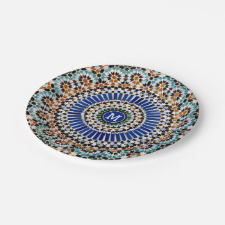Geometric Mosaic Mosque Tile Paper Plate