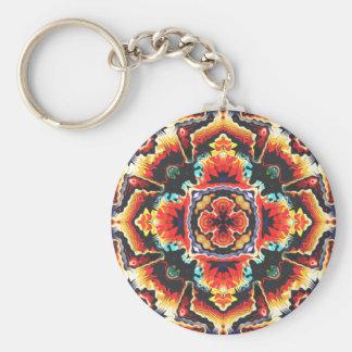 Geometric Motif Basic Round Button Key Ring