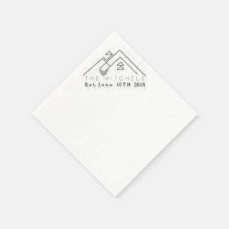 Geometric Mountain | Custom Name & Date Disposable Serviette