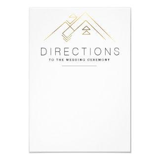 Geometric Mountain   Gold   Custom Direction Card 9 Cm X 13 Cm Invitation Card