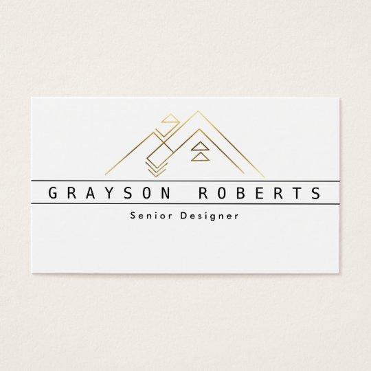Geometric Mountain Logo   Gold   Custom Business Business Card