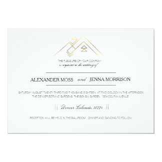 Geometric Mountain | Modern Gold 13 Cm X 18 Cm Invitation Card