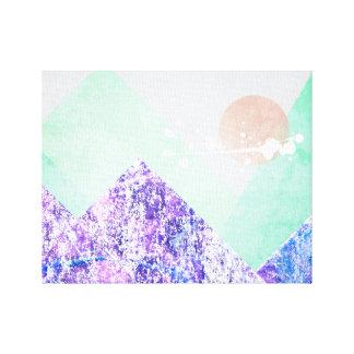Geometric Mountains Design Purple Green Quilt Art Canvas Prints