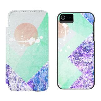 Geometric Mountains Design Purple Green Quilt Art Incipio Watson™ iPhone 5 Wallet Case
