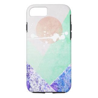Geometric Mountains Design Purple Green Quilt Art iPhone 7 Case