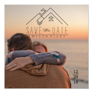 Geometric Mountian   Bohemian Save The Date 13 Cm X 13 Cm Square Invitation Card