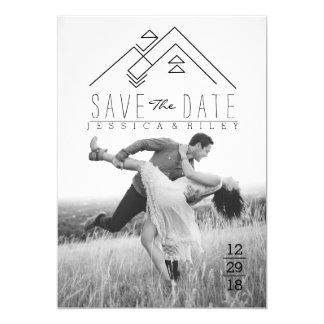 Geometric Mountian   Bohemian Save The Date 13 Cm X 18 Cm Invitation Card