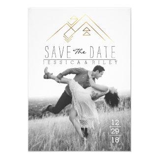 Geometric Mountian   Gold Save The Date Photo 13 Cm X 18 Cm Invitation Card