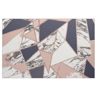 Geometric Navy Blue Peach Marble and Rose Gold Fabric