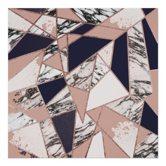 Geometric Navy Blue Peach Marble and Rose Gold
