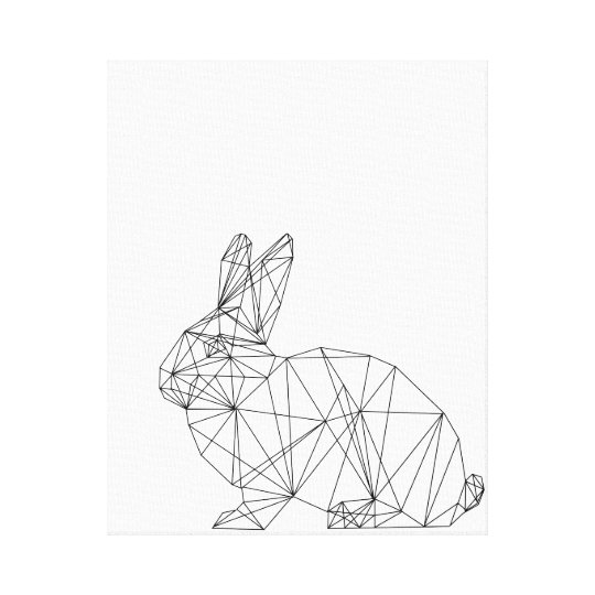 Geometric Nursery Rabbit Design Canvas Minimal Art