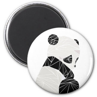 Geometric panda 6 cm round magnet