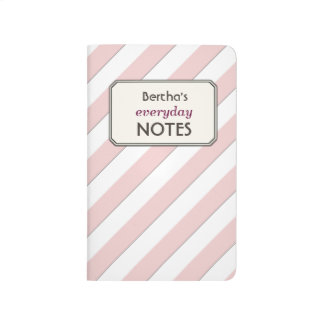 Geometric Pastel Red Stripes Custom Text Label Journals