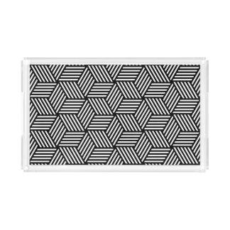 Geometric pattern art design acrylic tray
