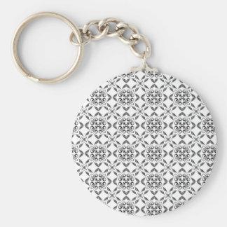 Geometric Pattern Basic Round Button Key Ring