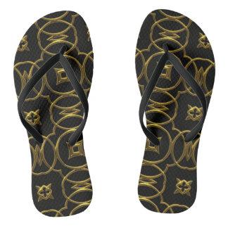 Geometric Pattern Black Gold Elegant Flip Flops