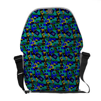 Geometric pattern blue green messenger  bag messenger bag