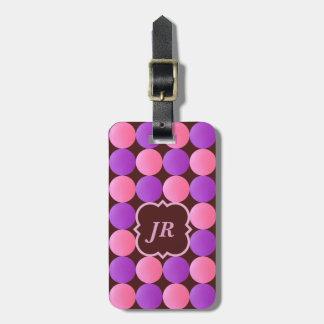 Geometric Pattern Brown Pink Monogram Luggage Tag