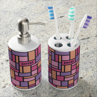 Geometric Pattern custom monogram bathroom set