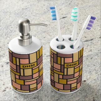 Geometric Pattern custom monogram bathroom set