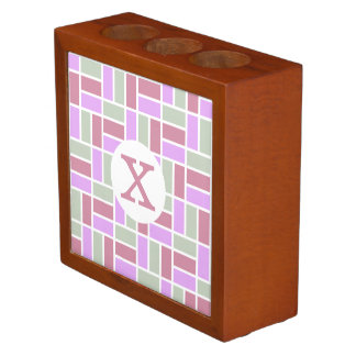 Geometric Pattern custom monogram desk organizer