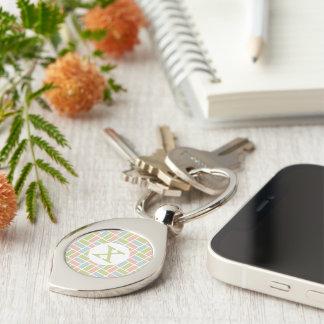 Geometric Pattern custom monogram key chain Silver-Colored Swirl Key Ring