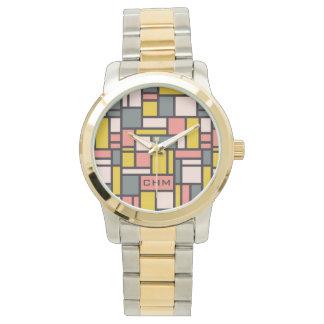 Geometric Pattern custom monogram watches