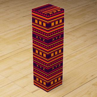 Geometric pattern custom monogram wine gift box