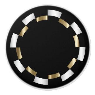 Geometric Pattern   Gold, White & Black Ceramic Knob