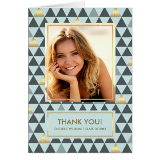 Geometric Pattern Graduation Thank You Photo Cards