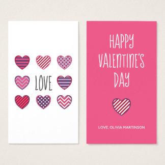 Geometric Pattern Hearts Love Happy Valentines Day Business Card