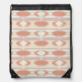 Geometric pattern in aztec style 3 drawstring bag