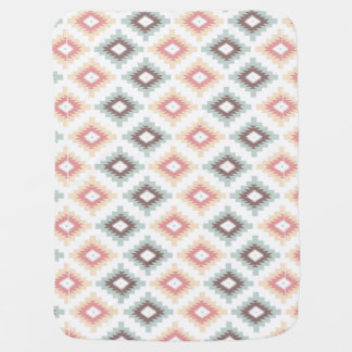 Geometric pattern in aztec style baby blanket
