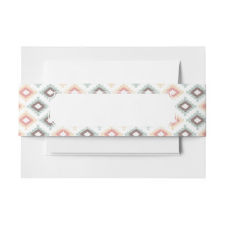 Geometric pattern in aztec style invitation belly band