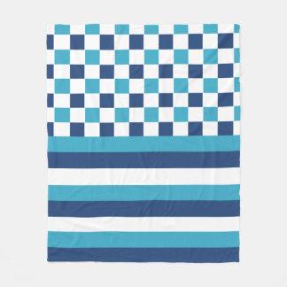 Geometric pattern in blue fleece blanket